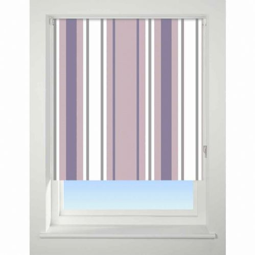 Universal Patterned Blackout Roller Blind - Stripe Purple